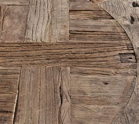 salvaged wood parquet reclaimed wood round coffee table pottery barn