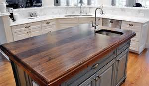Wood Countertops Kitchen Distressed Black Walnut Heritage Wood By Artisan Collection Countertops Kitchen Island By