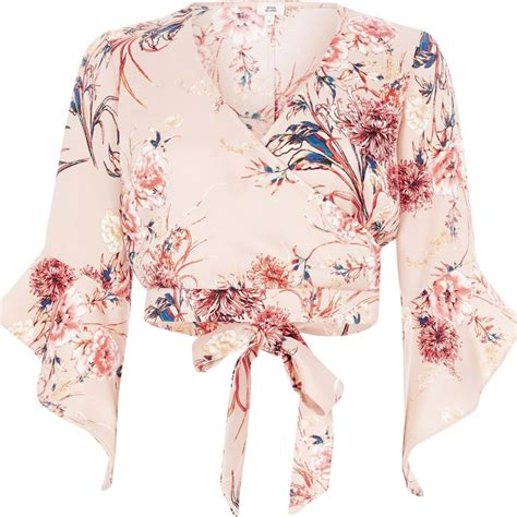 Crop Top Pink Flower light pink floral wrap flare sleeve crop top tops sale