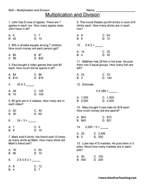 3rd Grade Math Practice Worksheets by Third Grade Math Test Practice Worksheet Teaching