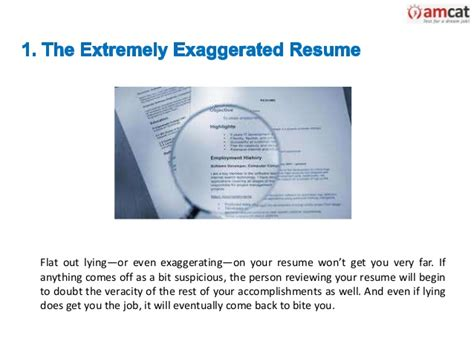 exaggerating on resume resume ideas