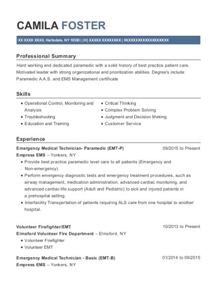 Firefighter Resume Exles by Resume Amazing Ems Resume Emt Resume Cover Letter Writing
