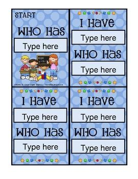 template for i who has cards i who has card template math theme by mrs magee tpt