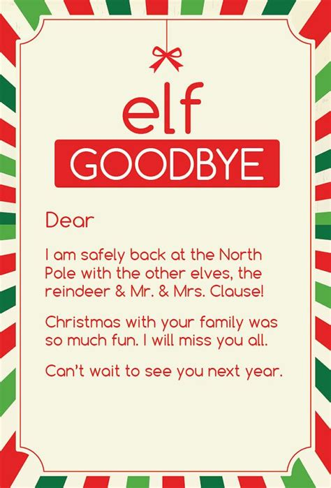 printable elf goodbye 17 mejores ideas sobre carta de despedida de elfos en