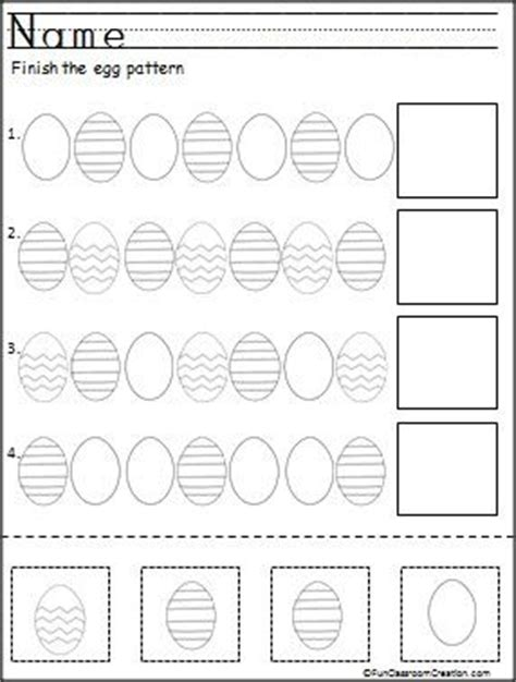 egg pattern worksheet finish the easter egg patterns this is a free color cut
