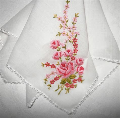 embroidery design handkerchief vintage fine lawn rose pattern embroidered handkerchief