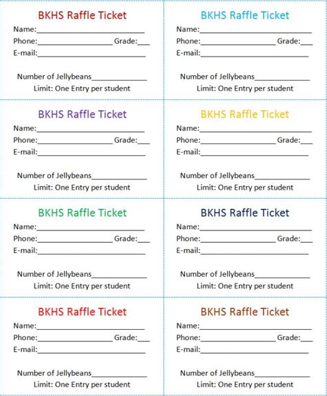 raffle tickets template template business