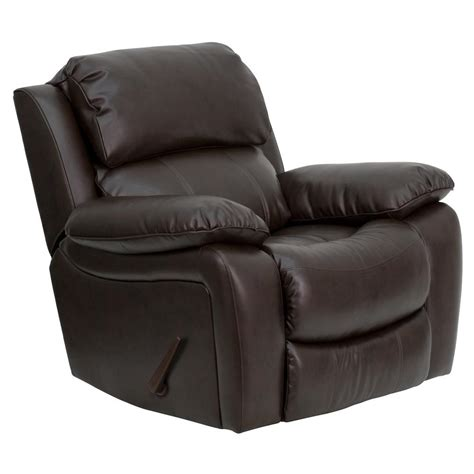 recliner rocker chairs flash furniture brown leather rocker recliner
