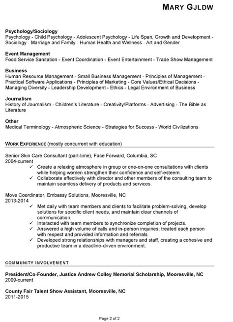 resume with little work experience