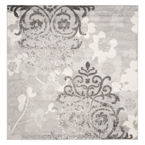 10 Square Medallion Area Rug by 10 X10 Medallion Square Area Rug Silver Ivory Target