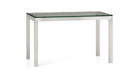 stainless steel glass top dining table clear glass top stainless steel base 48x28 parsons dining