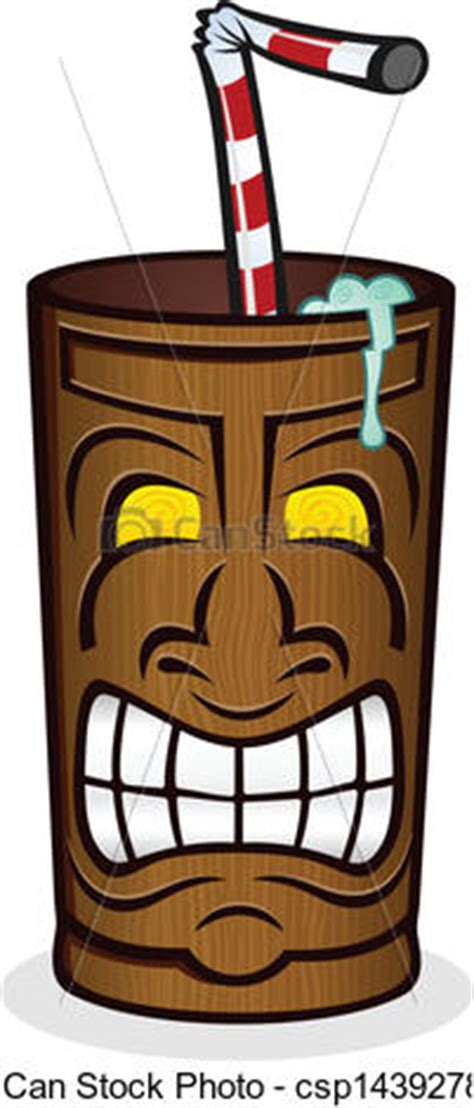 Wooden Clip Soda Mixed vector of tiki drink cup character a wooden tiki cup of csp14392785 search
