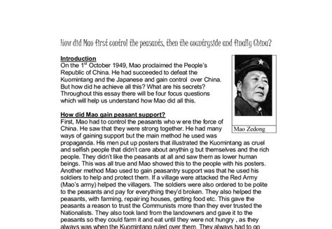 access to history maos how did mao first control the peasants then the countryside and finally china a level