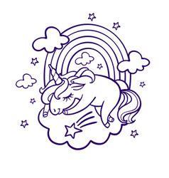 unicorn sleep beautiful unicorn in sleep magic fantasy h vector image