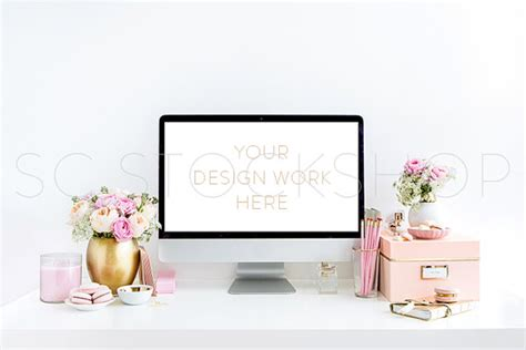 blush pink desk l blush pink and gold desktop with computer screen styled