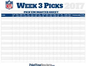 Nfl Weekly Pick Em Spreadsheet Nfl Week 3 Picks Master Sheet Grid