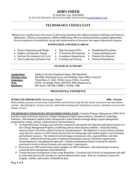 Resume Format Management Consulting 8 Best Images About Best Consultant Resume Templates Sles On Technology
