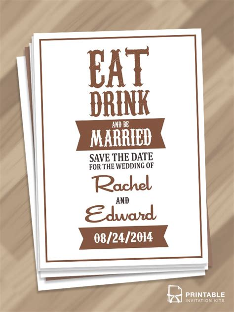 save the date invitation templates free free pdf eat drink and be married save the
