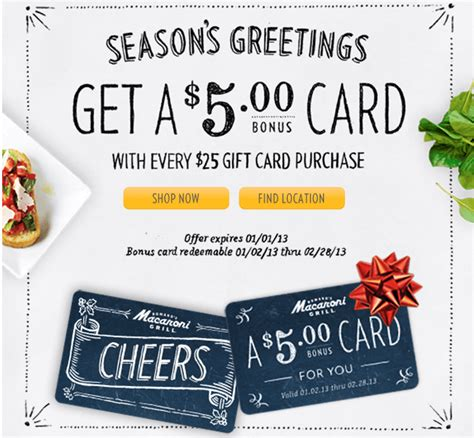 Macaroni Grill Gift Card Bonus - 5 bonus card at macaroni grill miss money bee