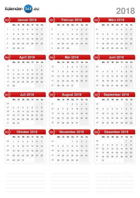 Kalender 2018 Zum Ausdrucken Eine Seite Kalender 2018