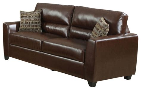 leather accent pillows for sofa monarch specialties 8983br sofa w 2 accent pillows in