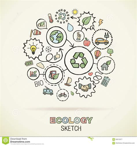 doodle how to make energy ecology draw sketch icons stock vector image 58015977