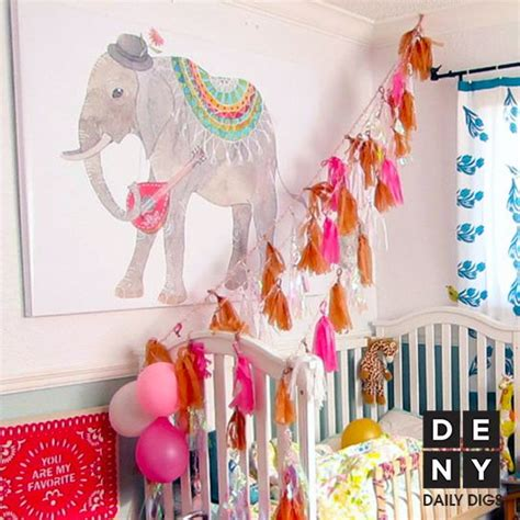 Daily Digs Boho Baby Girl Rooms And Elephant Print Bohemian Nursery Decor