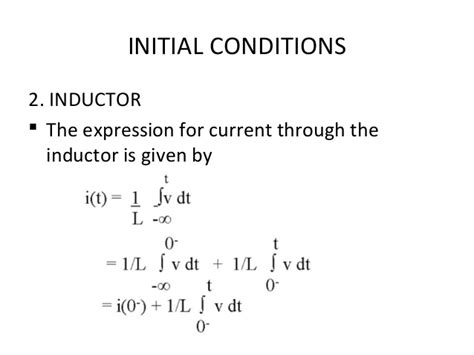 constant current through inductor initial conditions of resistor inductor capacitor