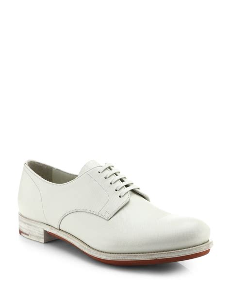 Prada Lightly Sneakers Import prada saffiano leather derby shoes in white for lyst