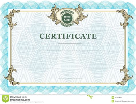 Vintage Certificate Stock Vector   Image: 39750483