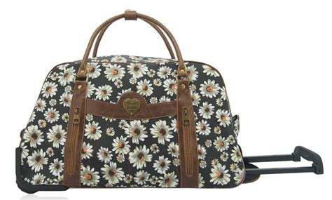 flower pattern luggage anna smith daisy floral pattern travel trolley bag weekend