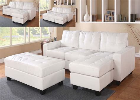 lyssa white bonded leather match sectional sofa ottoman