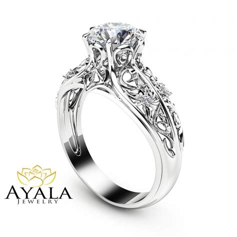 white gold filigree rings wedding promise