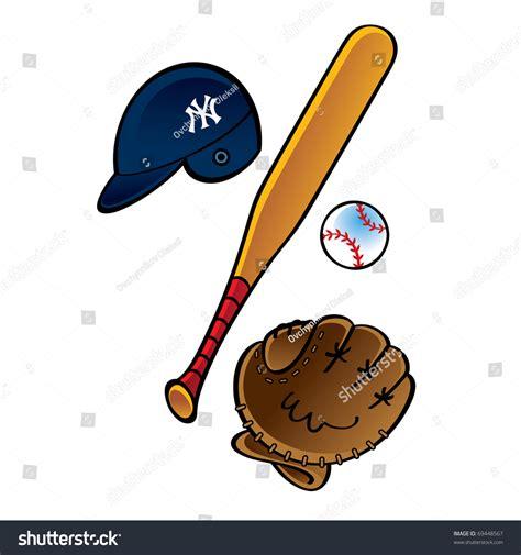 Set Bat baseball set bat helmet pitch stock vector 69448567
