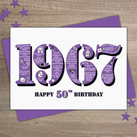 Happy 50th Birthday Card 1967 Plain Women S Happy 50th Birthday Card