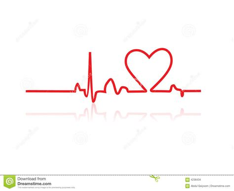 heart line tattoo stock images vector monitor line image 4236434