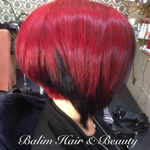 bobbed hair with underneath hair tagged as red and black hair
