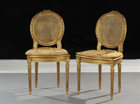 stile luigi xvi mobili coppia di sedie in stile luigi xvi in legno dorato xx