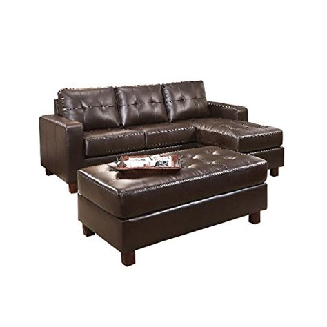 leather reversible sectional and ottoman abbyson minneapolis leather reversible sectional and