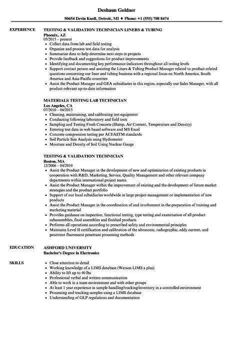 Technician Testing Resume Samples | Velvet Jobs
