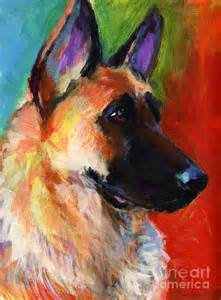 Make A Duvet Cover German Shepherd Dog Portrait Painting By Svetlana Novikova