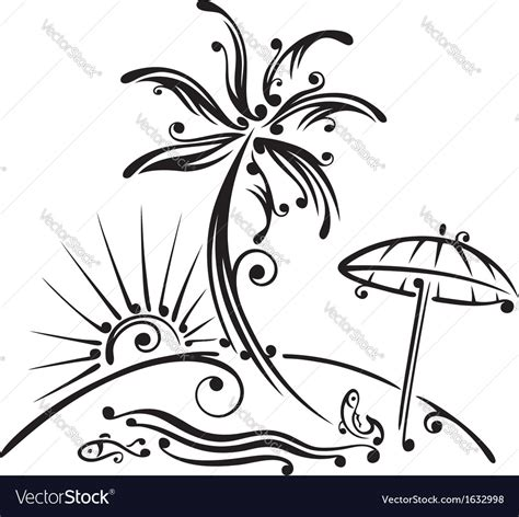 Drawing Vectors by Palm Tree Drawing Palm Tree Sun Royalty Free