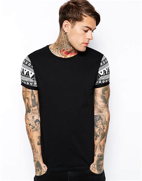 Asos Printed T Shirt Mens by Lyst Asos T Shirt With Contrast Aztec Print Roll Sleeve In Black For