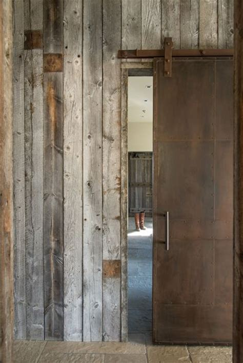steel barn door rusted steel sliding barn door and wood reclaimed
