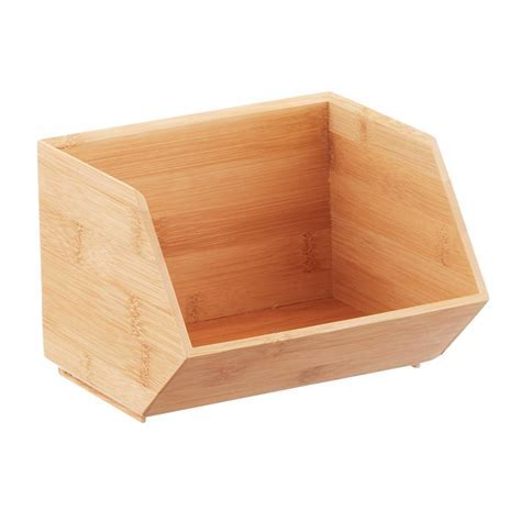 Stackable Bamboo Storage Bins   The Container Store