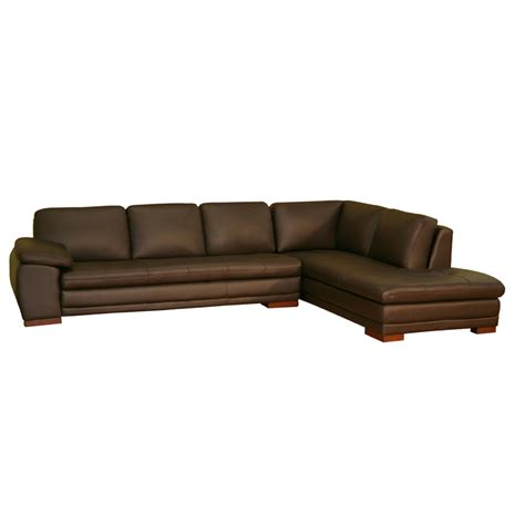 Wholesale Interiors Leather Sofa With Chaise Dark Brown