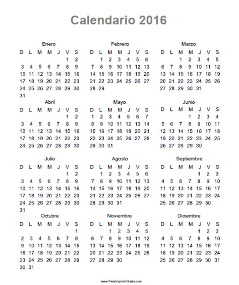 Calendario Almanaque 2016 Almanaque 2016 Para Imprimir Gratis Paraimprimirgratis