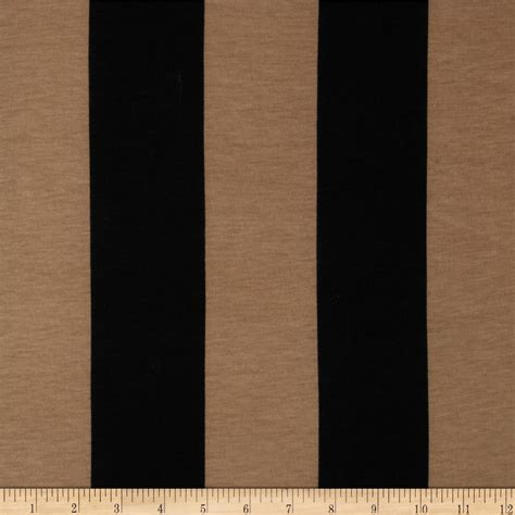 Washing Upholstery Fabric Soft Jersey Knit Large Stripes Black Tan Discount