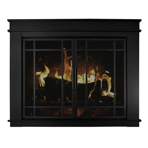 Shop Pleasant Hearth Midnight Black Large Cabinet Style Tempered Glass Cabinet Doors