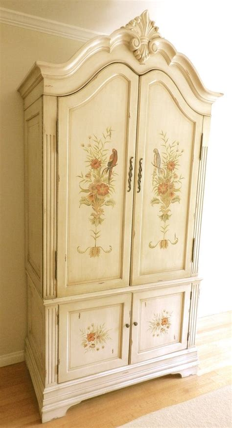 Tv And Clothing Armoire Vintage Painted Armoire Tv Linen Clothing Storage Cabinet Shabb